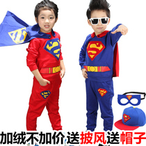 New childrens clothing for fall winter childrens Superman sports suit long sleeve sweater girls and boys two piece set children dress wave