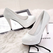 10CM high heels waterproof sexy women shoe with a fine round shallow foot shoes leather shoes summer Korean muzzle