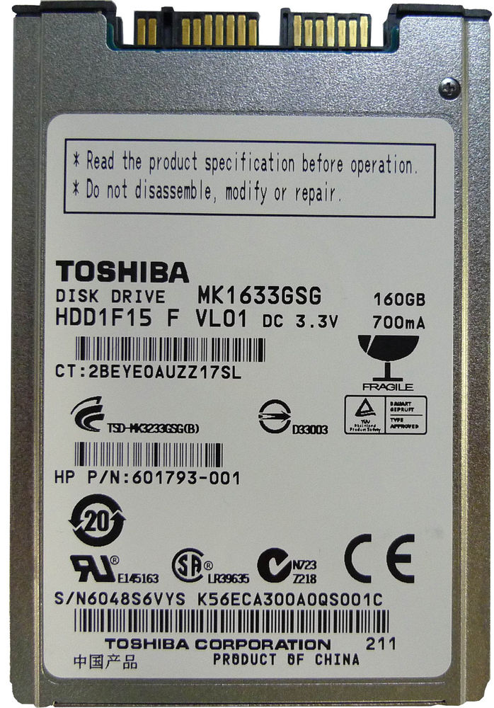 Full package mail new Toshiba 1.8-inch 160G MK1633GSG SATA notebook hard drive serial port 8MM