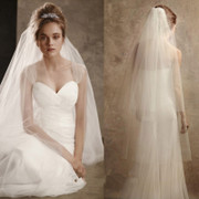 The new bride plain yarn simple Korean double long veil bride wedding without side Comb Wedding Veil concealed