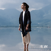 A Chinese male carp summer costume Hanfu Chinese wind Mens thin coat national costume man Retro Art