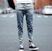 In spring and autumn big size men's pants harem pants personality feet men's baggy jeans men stretch casual pants boom