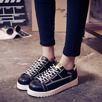 Spring 2016 shell-toe platform shoes designer shoes the Korean version of mark thick laces Street women sneakers