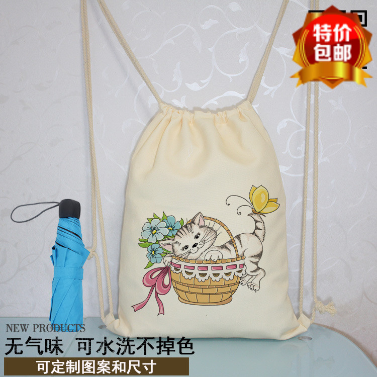 Blue cat bunch pocket backpack canvas bag rope smoke strap backpack backpack canvas backpack