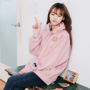 2017 autumn and winter new pink BF loose turtleneck Hoodie dress cashmere coat with thickened Korean Students