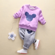 Small children with autumn and winter cotton cashmere sweater suits for men and women casual baby warm thickening two piece in winter