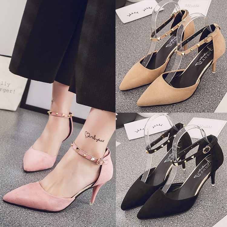 Europe and the United States women's shoes 2017 new spring, pointed, sexy heel, high heel shoes, rivets, buckle, single shoes, word buckle sandals