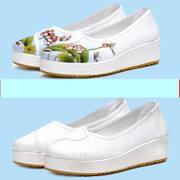Summer white nurse shoes, female 2017, new style ventilation slope with thick bottom nationality wind, work flat bottom cloth shoes inside heighten