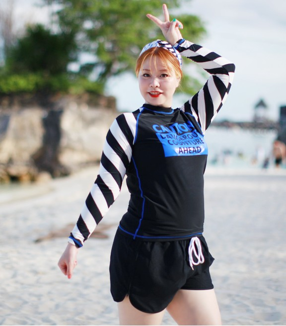 Korea purchase increase code fat sister suitable for high elasticity long sleeve sunscreen dry floating dive suit 2217