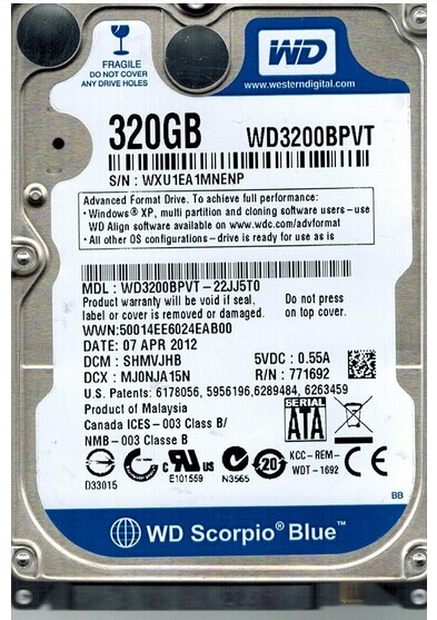 WD/Western Digital WD3200BPVT 320G laptop hard drive