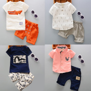 Boys wear short sleeved summer suit children summer new baby baby clothes two piece 1-2-3 4 tide