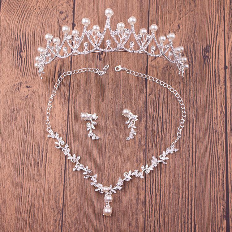 新娘头饰套装 皇冠三件套 韩式婚礼结婚首饰婚纱配饰项链耳环饰品