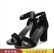 In the summer of 2016 a buckle with coarse sandals female occupation high-heeled shoes black sandals shoes Rome
