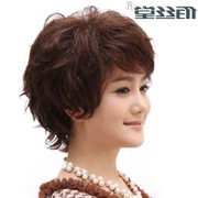 The share of overseas Cl real hair female hair wig in the elderly mother all handmade wig is lifelike and natural