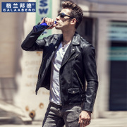 Metrosexual motorcycle leather male short slim Lapel PU Leather Men's cashmere leather jacket with thick coat of young men