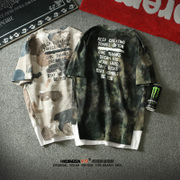 Metrosexual T-Shirt New Summer tide brand Europe hip-hop trend of false two loose camouflage half sleeve men's T-shirt