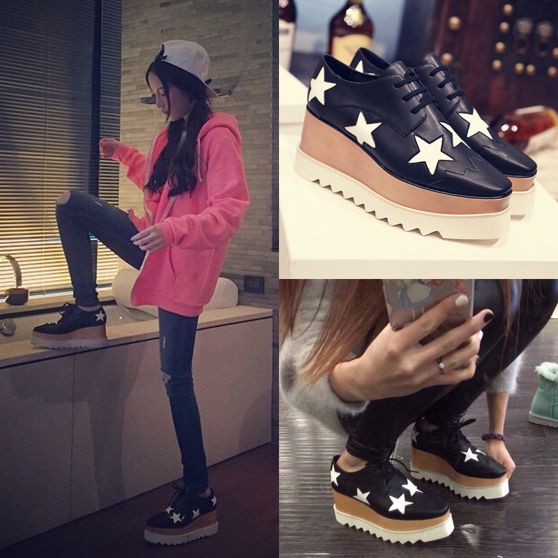 Europe fall 2015 new stars in thick-soled platform shoes UK wedges high heels shoes summer shoes with square wave