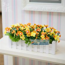 Home Furnishing jewelry garden flower simulation flowers set white wooden fence floral 5 fork little cherry living room decorative flower