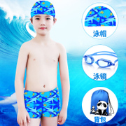 Children swimming suit boys swimming pants young child baby boy split Trunks Swimsuit cap boxer