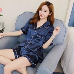 睡衣女款夏季短袖两件套装冰丝绸韩版甜美可爱雪纺春秋性感家居服