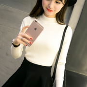 Half a white sweater lady winter sleeve head short sleeved shirt all-match thickened slim bottoming sweaters