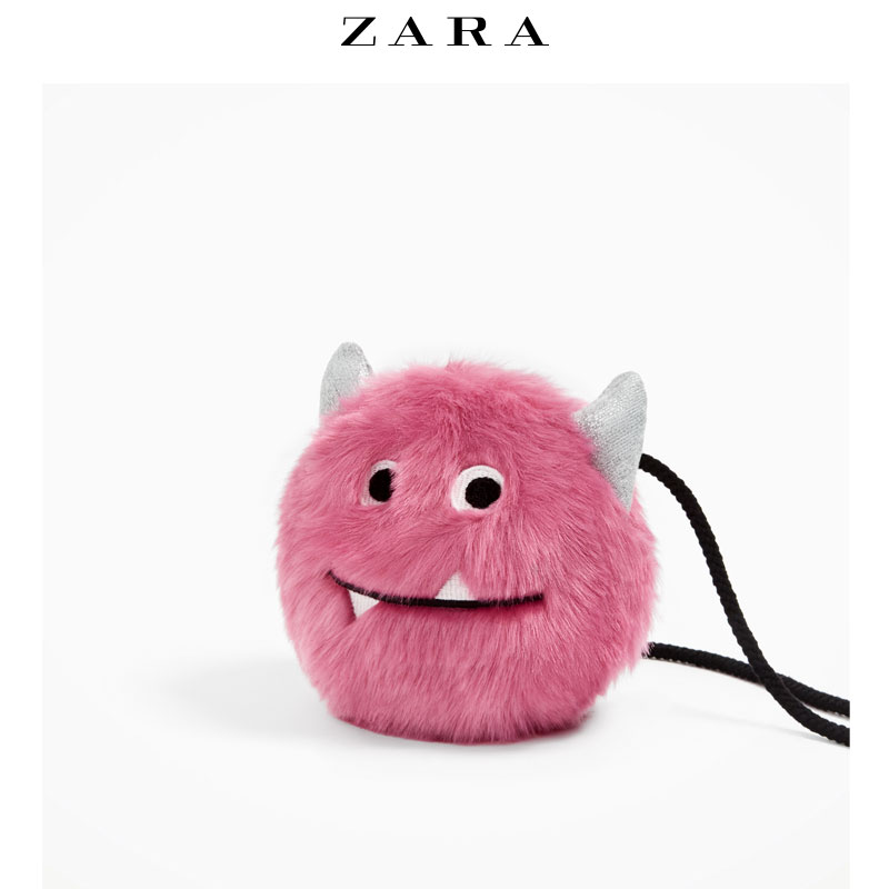 Red ZARA Tong faux fur bag purchasing small monster shaped package 11625206050