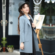 Two girls long woolen coat 2016 Korean coat in autumn and winter sweet slim suit collar wool top