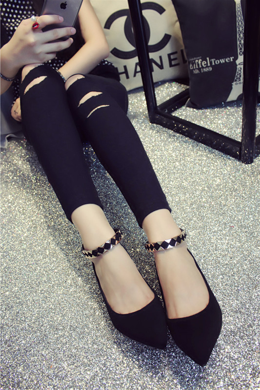 Joker sexy strap a word of new fund of 2015 autumn winters is pointed with black suede work orders of shoes for women's shoes in the fashion