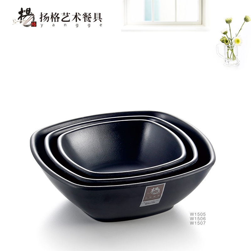 Fangci melamine is A5 black frosted sifang rainbow noodle bowl Rice porridge soup bowl Resistant washable melamine imitation porcelain tableware