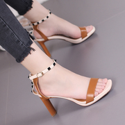 Europe and America heel heel sandal, female 2017 summer new style, sexy spell color, word buckle, high-heeled shoes, fashionable rivet, women's shoes