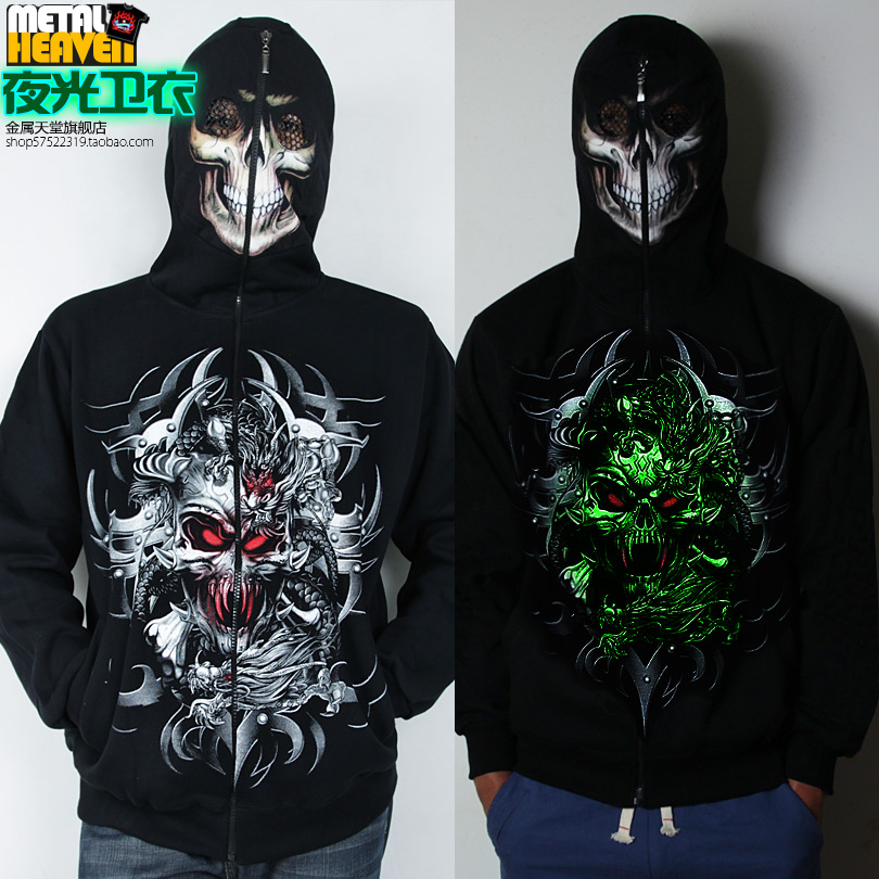Rock SWEATER MENS metal coat head heaven Hoodie teen pop hip-hop loose skull luminous