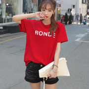Pure cotton short sleeved T-shirt red female 2017 new summer Blouse Size T-shirt all-match loose Korean Students