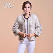 Autumn winter 2014 new knitted in mink fur short coat female mink coat color Sable mink grass specials