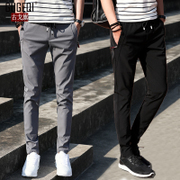Thin casual pants male teenager skiny black feet Korean summer sports pants men nosing feet long pants