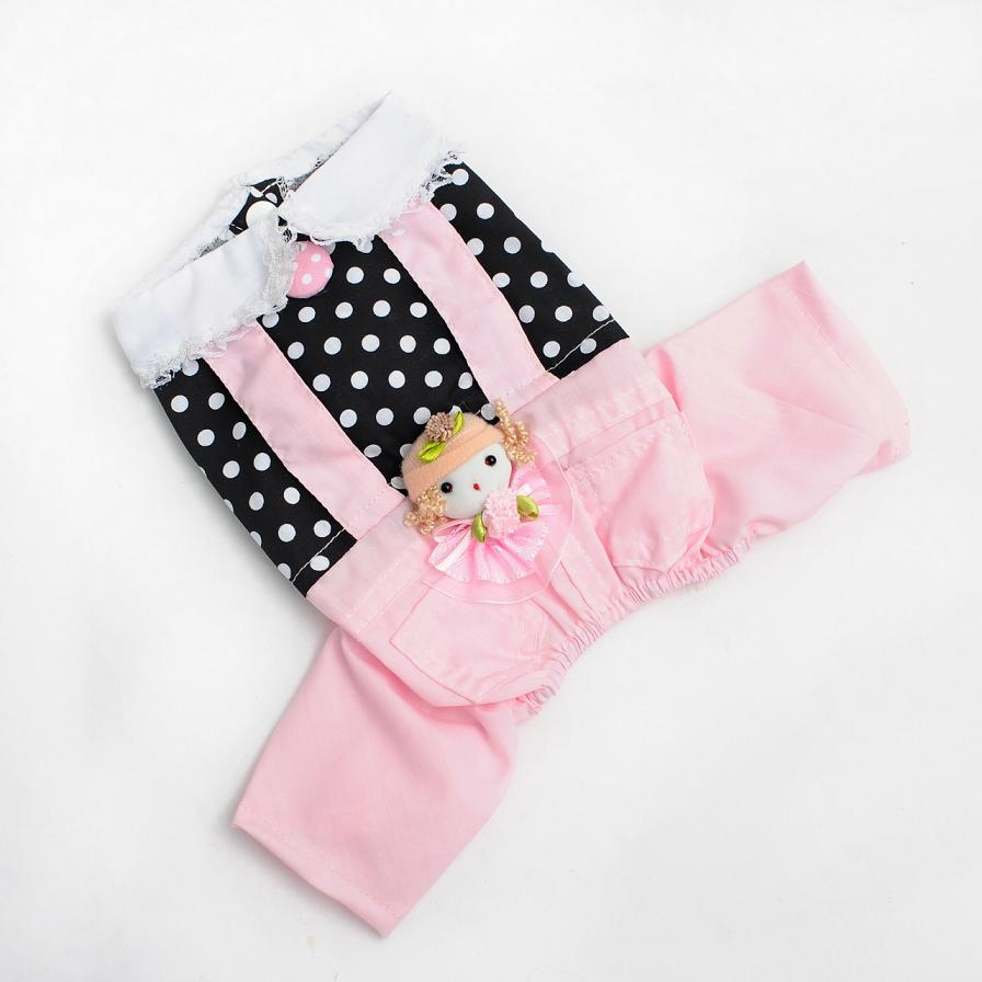 Pet clothes, pink dolls, Siamese pants, dog clothes, Teddy clothes