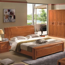 All solid wood bed, 1.8 meters, Chinese double oak bed, 1.5 meters, simple bed, special price, modern wedding bed, bedroom furniture