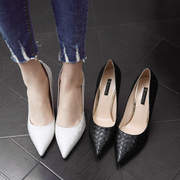 Drill a golden white high heels with a fine black female pointed shoes all-match Korean shoes 2017 new summer autumn