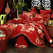In the European style Wedding SATIN jacquard bedding Yaotai multi piece wedding bed Siliubashi set