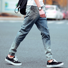 The new spring summer new Japanese denim trousers waist drawstring pants Haren male youth men's pants Metrosexual feet