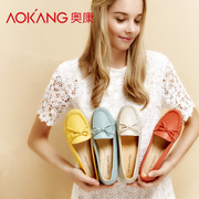 AOKANG head Doug shoes with leather shoes Asakuchi Po shoes casual shoes spring flat mom shoes