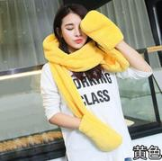 Han edition knitting hat Ms. Qiu dong the day warm winter gloves one set of stretched wool scarf