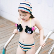 2017 new summer girls swimsuit children's three sets of baby bear rainbow Swimsuit Bikini Bikini