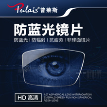 Price 1.61 1.67 Anti-Blue Lens Anti-Radiation Lens 1.74 Aspheric Myopia Lens