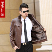 A middle-aged father put in autumn and winter coat fur leather imitation cashmere and Pu men's business casual men's short thick