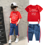 The boy set 2017 new children summer 6 summer children 8 year old boy with short sleeved two piece Korean tide