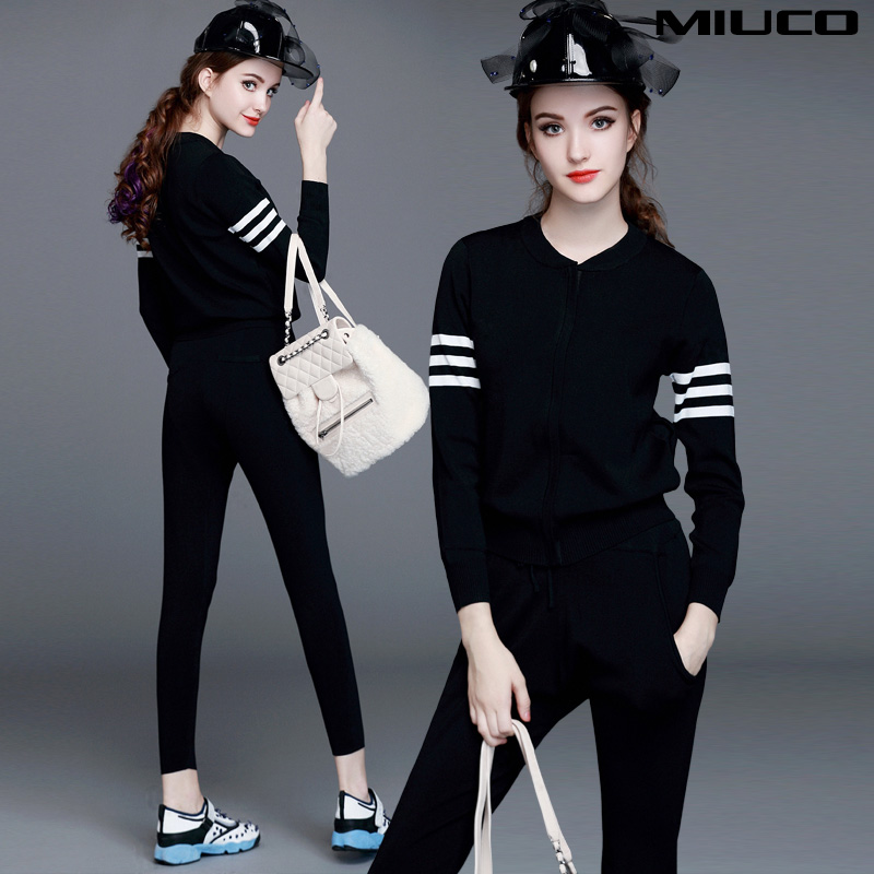 Two-piece 2015 new women's slim sweater knit coats for fall/winter + harem pants sports set tide