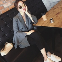 Korea purchasing womens spring 2017 new Lotus sleeve slim small suit of seven big jackets autumn tides