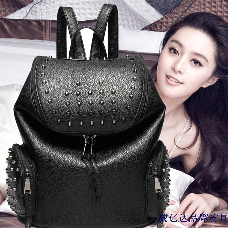 Pu shoulder bag black new doubles College wind trend of the Korean women's soft leather backpack tourist women bags