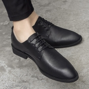 Summer casual shoes men Korean soft leather leather black pointed young British business dress shoes.