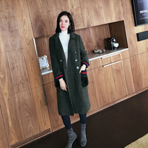 Ou Ruier winter new military green coats with long sleeves womens long over the knee Pocket wool coat women boomers